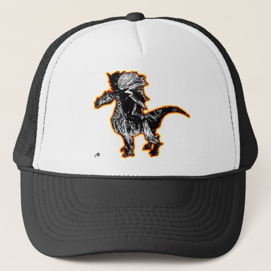 Fire outline black and white dragon trucker hat