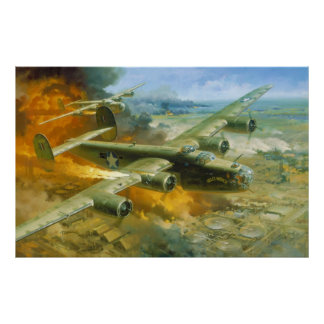 Fire Over Ploesti by Roy Grinnell Poster