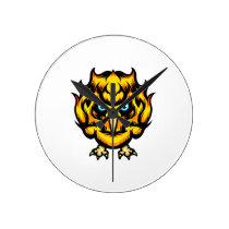 Fire Owl Round Clock
