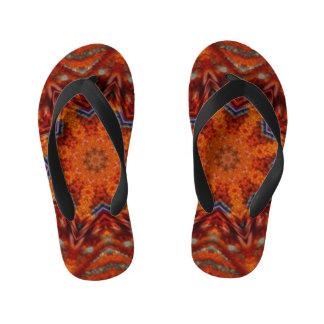 Fire-Pebble Mandala Flip-Flops Kid's Flip Flops