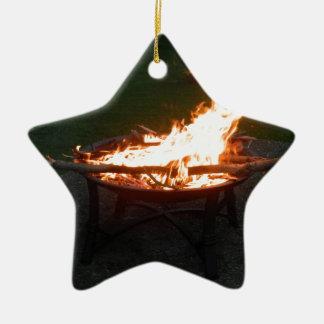Fire pit bonfire image ceramic ornament