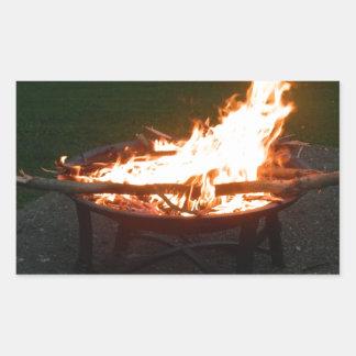 Fire pit bonfire image rectangular sticker