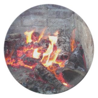 Fire Pit Melamine Plate