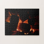 Fire Pit Warm Orange and Black Winter Photography Jigsaw Puzzle