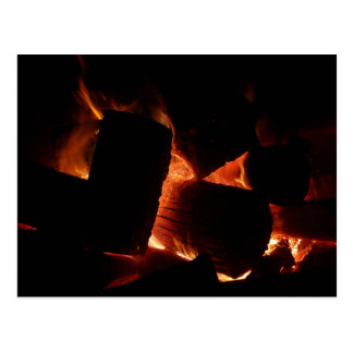 Fire Pit Warm Orange and Black Winter Photography Postcard