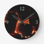 Fire Pit Warm Orange and Black Winter Photography Round Clock