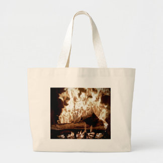 Fire Place Large Tote Bag