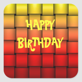 Fire Plaid Happy Birthday Square Sticker