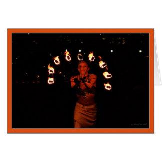 Fire poi fire dancer fire artis flames torch hot card