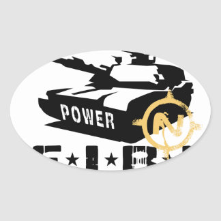 Fire Power Military Canon Oval Sticker
