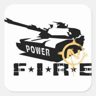 Fire Power Military Canon Square Sticker