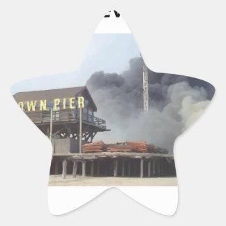 Fire rages along NJ boardwalk damaged by Sandy Star Sticker