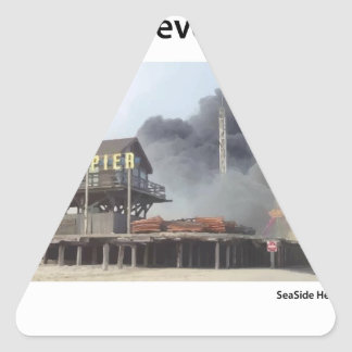 Fire rages along NJ boardwalk damaged by Sandy Triangle Sticker