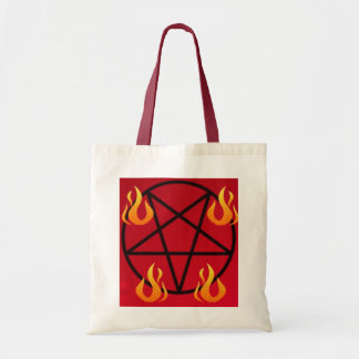 Fire Red and Black Inverted Magic Pentagram Tote Bag