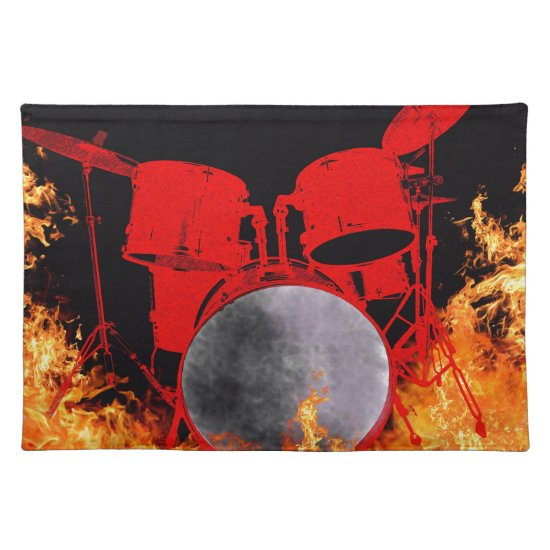 Fire Red Drums Cloth Placemat