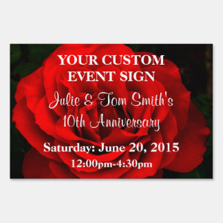 Fire Red Rose - Custom Event Small Sign TEMPLATE