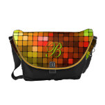Fire Red  Squares Mosaic Monogram Ricksh Courier Bags