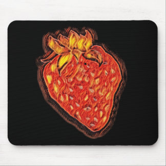 Fire Red Strawberry Mouse Pad