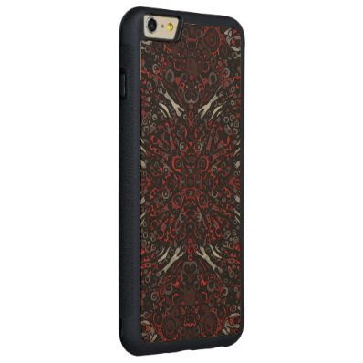 Fire Red Zebra Abstract Pattern Carved® Maple iPhone 6 Plus Bumper Case
