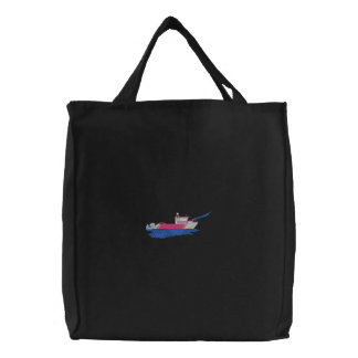 Fire Rescue Boat Embroidered Tote Bag