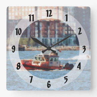 Fire Rescue Boat Hudson River Square Wall Clock