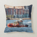 Fire Rescue Boat Hudson River Throw Pillows