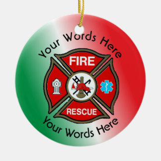 Fire Rescue Cross Custom Ceramic Ornament