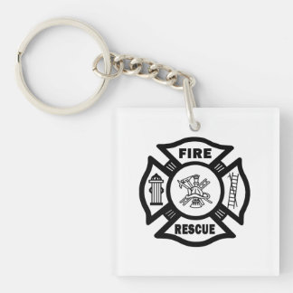 Fire Rescue Double-Sided Square Acrylic Keychain