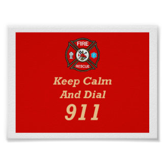 Fire Rescue Emergency Dial 911 Poster
