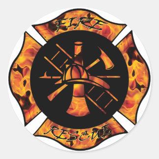 Fire Rescue Flaming Maltese Cross Classic Round Sticker