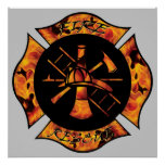 Fire Rescue Flaming Maltese Cross Poster