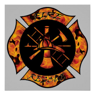 Fire Rescue Flaming Maltese Cross Posters