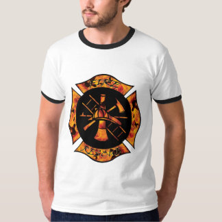 Fire Rescue Flaming Maltese Cross T-Shirt