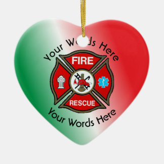 Fire Rescue Maltese Cross Ceramic Ornament