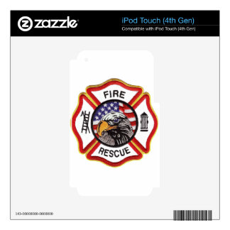 Fire Rescue Maltese Cross iPod Touch 4G Decals