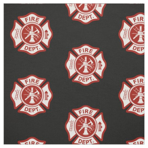 Fire Rescue Maltese Cross Symbol Black Fabric