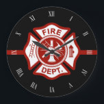 "Fire Rescue Maltese Cross Symbol Black Large Clock<br><div class=""desc"">A black Maltese cross symbol clock.</div>"