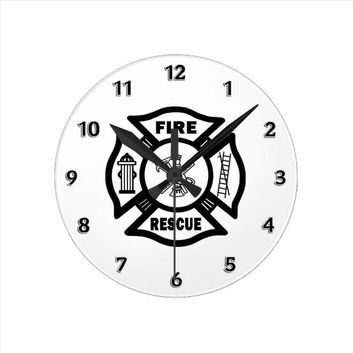 Fire Rescue Round Clock