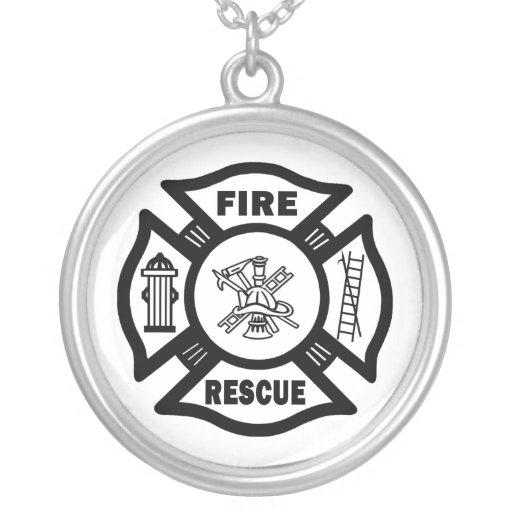 Fire Rescue Round Pendant Necklace