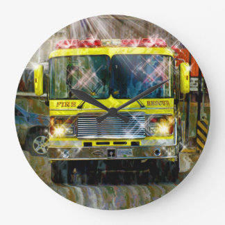 Fire & Rescue Truck Firefighters Wall Clock