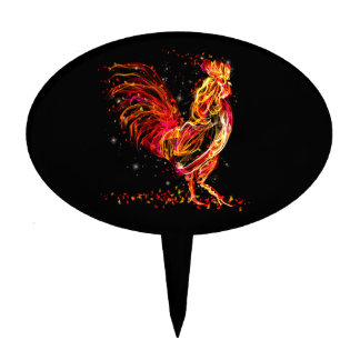 Fire rooster. Flaming animal sparkle cool design Cake Topper