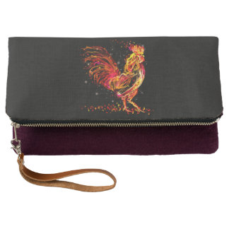 Fire rooster. Flaming animal sparkle cool design Clutch