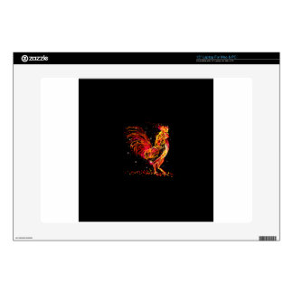 "Fire rooster. Flaming animal sparkle cool design Decal For 15"" Laptop"