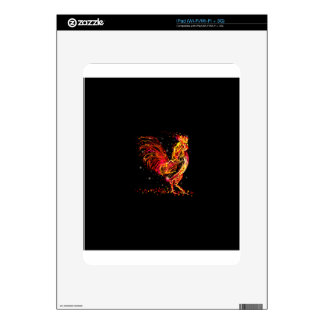 Fire rooster. Flaming animal sparkle cool design iPad Skins
