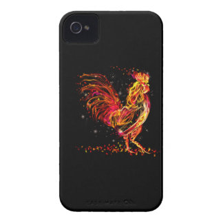 Fire rooster. Flaming animal sparkle cool design iPhone 4 Cover