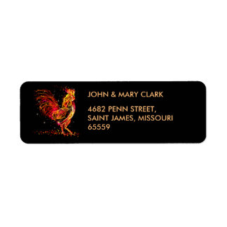 Fire rooster. Flaming animal sparkle cool design Label