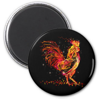 Fire rooster. Flaming animal sparkle cool design Magnet
