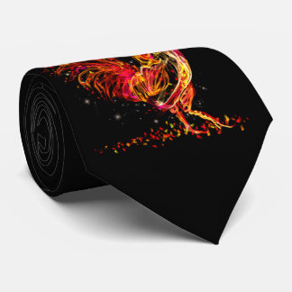 Fire rooster. Flaming animal sparkle cool design Neck Tie