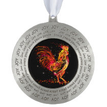 Fire rooster. Flaming animal sparkle cool design Ornament