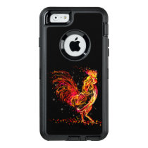 Fire rooster. Flaming animal sparkle cool design OtterBox Defender iPhone Case